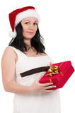 Pregnant woman with gift box Royalty Free Stock Images