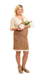 Pregnant woman with gift and flowers Stock Image