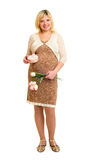 Pregnant woman with gift and flowers Stock Images