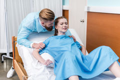 Pregnant woman giving birth in hospital Royalty Free Stock Image