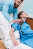 Pregnant woman giving birth in hospital Royalty Free Stock Photography