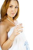 Pregnant woman with a glass of water Royalty Free Stock Images