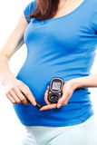 Pregnant woman with glucose meter checking sugar level, diabetes during pregnancy Stock Image