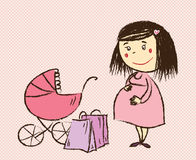 Pregnant woman goes shopping Royalty Free Stock Images