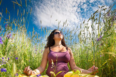 Pregnant woman on green grass field under blue sky Stock Photography