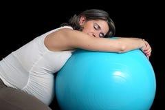 Pregnant woman and gym ball Stock Photos