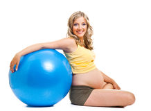 Pregnant woman with gymnastic ball Royalty Free Stock Photo
