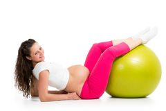 Pregnant woman with gymnastic fit ball Stock Images