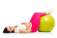 Pregnant woman with gymnastic fit ball Stock Image