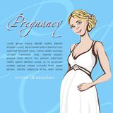 Pregnant woman hand drawing, vector background, banner, card. Colored cartoon portrait of expectant girl with a big belly, drawn h Stock Photo