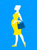 Pregnant woman with handbag. Illustration of pregnant woman silhouette in yellow dress with handbag Stock Photos