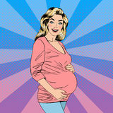 Pregnant Woman. Happy Woman. Joy of Motherhood. Waiting for Baby Stock Photo