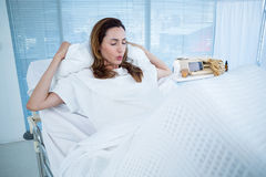 Pregnant woman having birth pangs Royalty Free Stock Photos