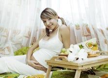 Pregnant Woman Having Breakfas Stock Photography