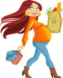 Pregnant woman with the health food package Royalty Free Stock Images