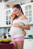 Pregnant woman and healthy food Royalty Free Stock Photo
