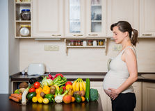 Pregnant woman - healthy food Royalty Free Stock Images