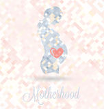 Pregnant Woman With Heart in Belly Motherhood Vect Stock Image