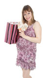 Pregnant woman with heart-shaped box Stock Image