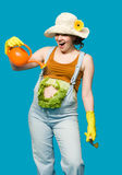 Pregnant woman and her belly as cabbage Stock Image