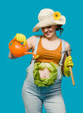 Pregnant woman and her belly as cabbage Royalty Free Stock Image