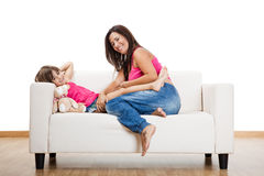 Pregnant woman with her daughter Royalty Free Stock Image