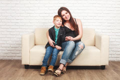 Pregnant woman with her elder son Royalty Free Stock Image