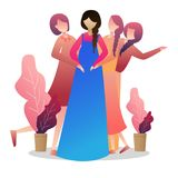 Pregnant woman with her friends and presents smiling.Mother expecting baby. Vector curved illustration Stock Image