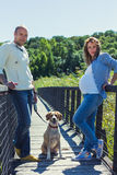 Pregnant woman and her husband on a bridge. A pregnant women and her husband are standing on a bridge with their dog in a beautiful sunny day royalty free stock photo