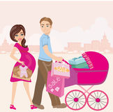 Pregnant woman and her husband on shopping Stock Photography