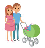 Pregnant woman and her husband on shopping Stock Images