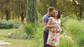 Pregnant woman and her husband are walking in park stock video