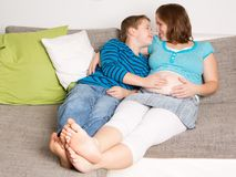 Pregnant woman with her son Royalty Free Stock Photography