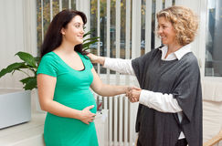 Pregnant woman and her therapist. Pregnant women at prenatal psychological therapy with her therapist Stock Photos