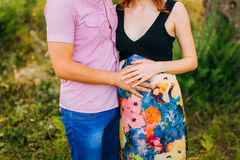 Pregnant woman holding belly with hands Stock Photography