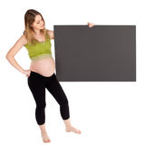 Pregnant Woman Holding Blank Board Royalty Free Stock Photos