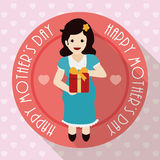 Pregnant Woman holding a Gift in Mother's Day, Vector Illustration Royalty Free Stock Image