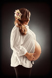Pregnant woman holding her belly Stock Images