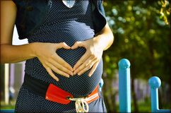 Pregnant Woman Holding Her Tummy during Daytime Royalty Free Stock Image
