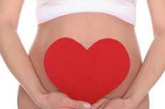 Pregnant Woman Holding Red Heart Stock Photos