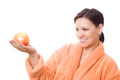Pregnant woman holds an apple Royalty Free Stock Photo