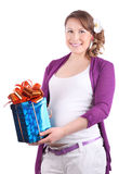 Pregnant woman holds box with gift Stock Photos