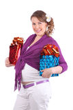 Pregnant woman holds two boxes with gift Royalty Free Stock Images