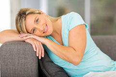 Pregnant woman home Royalty Free Stock Images