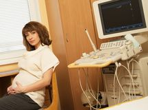 Pregnant woman at hospital Stock Photography