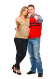 Pregnant woman with husband showing thumbs up Royalty Free Stock Image