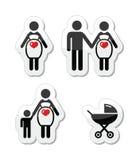 Pregnant woman  icons set. Motherhood, pregnancy, family, single parenting modern labels set Stock Images