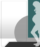 Pregnant woman illustration green Royalty Free Stock Photo