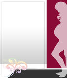 Pregnant woman illustration red. Illustration layout in red tone with pregrant woman, copy space Stock Photo