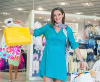 Pregnant Woman In Shop Store Royalty Free Stock Photos